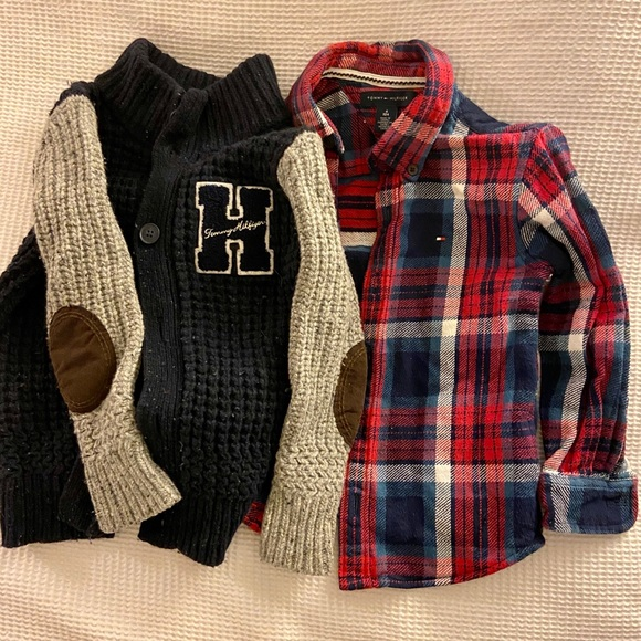 Tommy Hilfiger Other - Tommy Hilfiger red navy shirt and cardigan age 4